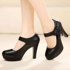Hannah - 真皮厚底高跟鞋