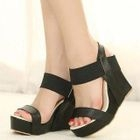 Mancienne - Faux-Leather Wedge Sandals