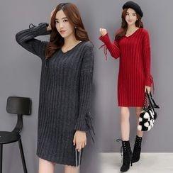AiSun - V-Neck Ribbed Sweater Dress