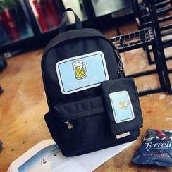 Youme - 兩件套裝: 啤酒印花背包 +  零錢包