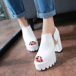 JY Shoes - Platform Block Heel Sandals