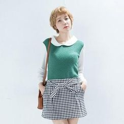 CatWorld - Peter Pan-Collar Color-Block Top