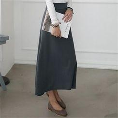 CHICFOX - Band-Waist A-Line Maxi Skirt