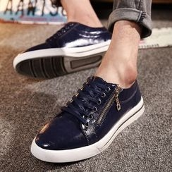 BINSHOU - Genuine-Leather Zip-Accent Sneakers