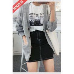 MICHYEORA - Stitched Slim-Fit Denim Mini Skirt