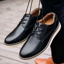 BINSHOU - 真皮系带牛津鞋