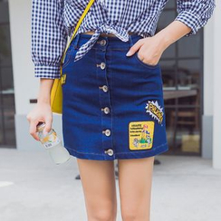 AiLiTi - Applique Buttoned Denim Skirt