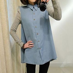 Fashion Street - Panel Long-Sleeve Denim Blouse