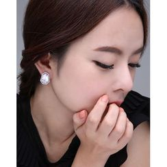 Miss21 Korea - Rhinestone Heptagon Clip-On Earrings