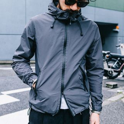 YIDESIMPLE - Waterproof Drawstring Hooded Windbreaker