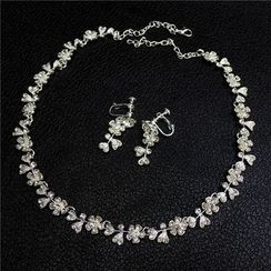 First Impression - Bridal Set: Rhinestone Necklace + Earrings