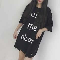 AJIEJIA - Lettering Elbow Sleeve Ripped T-Shirt Dress