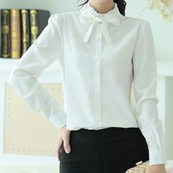 Athena - Long-Sleeve Frilled-Trim Bow-Accent Blouse