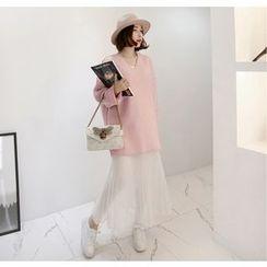 Miamasvin - V-Neck Brushed-Fleece Mini Pullover Dress