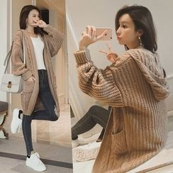 Eva Fashion - Hooded Cable Knit Cardigan