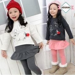 nanakids - Girls Rabbit Print Brushed-Fleece Lined Top