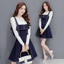 Romantica - Set: Long-Sleeve Top + Buckled A-Line Jumper Dress