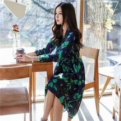 JVLLY - Floral Pattern Shirt Dress with Belt