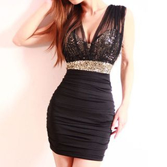 Aquello - Sequined Sleeveless Bodycon Party Dress