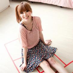 Tokyo Fashion - Set: Scoop-Neck Top + Floral Tank Dress