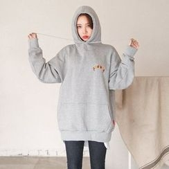 Seoul Fashion - Hooded Printed Brushed-Fleece Lined Pullover