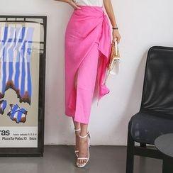DABAGIRL - Linen H-Line Long Wrap Skirt