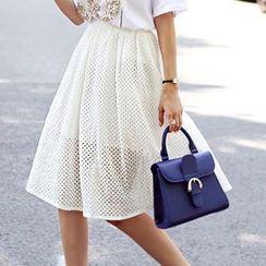 migunstyle - Band-Waist Perforated Midi Skirt