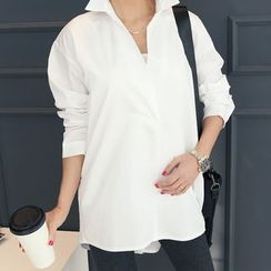 DANI LOVE - Buttoned-Back Long Cotton Shirt