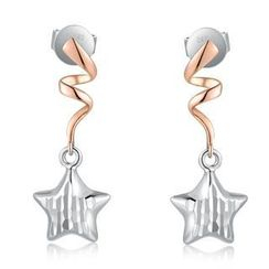 MaBelle - 14K Bicolor Rose White Gold Swirling Dangle Star with Diamond-Cut Earrings