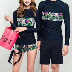 DJ Design - Couple Matching Floral Print Panel Rashguard