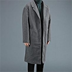 THE COVER - Stripe Wool Blend Long Coat
