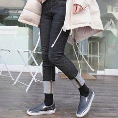 Seoul Fashion - Cuffed-Hem Straight-Cut Jeans