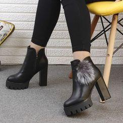 Wello - Block Heel Platform Buckled Short Boots