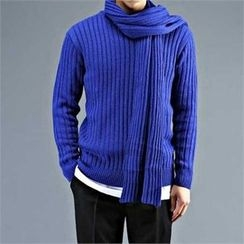 THE COVER - Crew-Neck Rib-Knit Sweater with Scarf