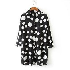 Ainvyi - Dot Print Oversized Chiffon Shirt
