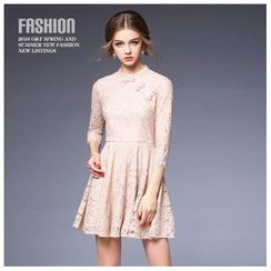 Ozipan - Chinese Frog Button Lace A-Line Dress
