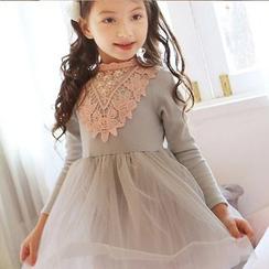 Cuckoo - 小童蕾丝拼接长袖连衣裙