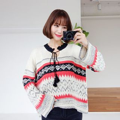 WITH IPUN - Tied-Neckline Pattern Sweater
