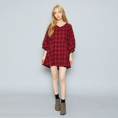 Envy Look - V-Neck Puff-Sleeve Check Mini Dress
