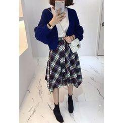 Miamasvin - Tie-Waist Asymmetric-Hem Plaid Long Skirt