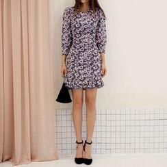 DABAGIRL - Godet-Hem Floral Pattern Bodycon Dress