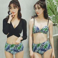 Beach Date - 树叶印花比基尼泳衣套装(3件)