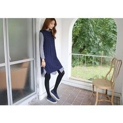 Hello sweety - Sleeveless Cable-Knit Long Sweater