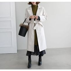 Miamasvin - Open-Front Long Coat with Sash