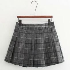 Snow Goose - Plaid Pleated Mini Skirt