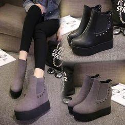 Sleeko - Studded Wedge Ankle Boots