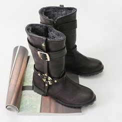 Dodostyle - Faux Fur-Lined Buckled Boots