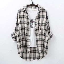 Heybabe - Plaid Long Shirt