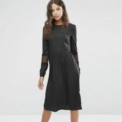 Lovebirds - Long-Sleeve Lace Panel Dress