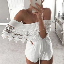 Flobo - Off-Shoulder Crochet-Panel Playsuit
